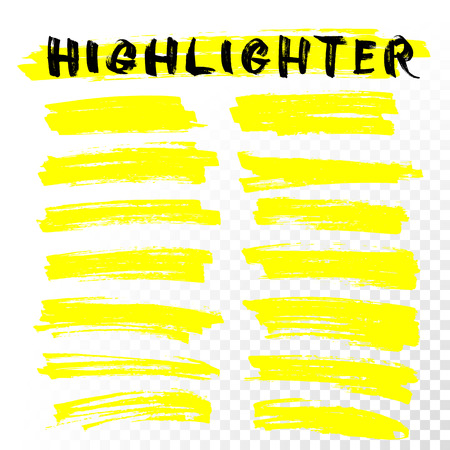Vector Highlighter Pinsel Linien. Markierungsstift Highlight unterstreichen Schlaganfällen. Gelbe Aquarell von Hand gezeichnet Highlight Set Vektorgrafik