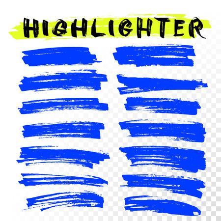 underline: Vector highlighter brush lines. Marker pen highlight underline strokes. Blue watercolor hand drawn highlight set