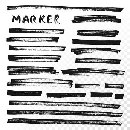 Vector highlighter brush lines. Marker pen highlight underline strokes. Black watercolor hand drawn highlight set Vettoriali