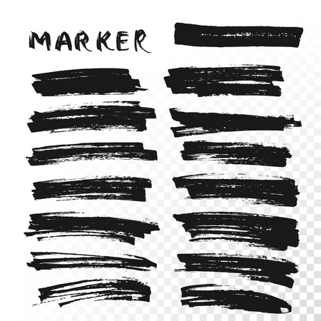 Vector highlighter brush lines. Marker pen highlight underline strokes. Black watercolor hand drawn highlight set Vettoriali