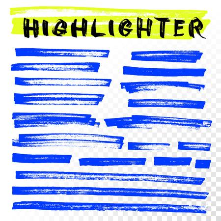 Vector highlighter brush lines. Marker pen highlight underline strokes. Blue watercolor hand drawn highlight set