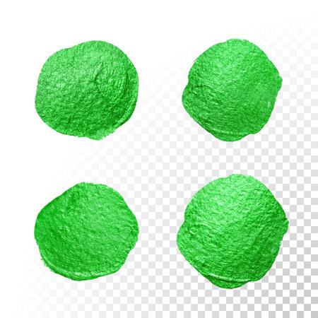 Vector green watercolor glitter brush blob. Abstract polish splash circle. Emerald oil paint polka dot imprints on transparent background