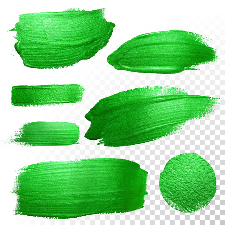 Vector green watercolor glitter brush stroke and blobs set. Abstract polish splash trace. Green oil paint smear dab line on transparent background Çizim