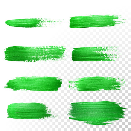 dab: Vector green watercolor glitter brush stroke set. Abstract polish splash trace. Green oil paint smear dab line on transparent background