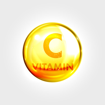 ascorbic: Vitamin C gold icon. Antioxidant ascorbic acid vitamin drop pill capsule. Shining golden essence droplet. Beauty treatment nutrition skin care design. Vector illustration.