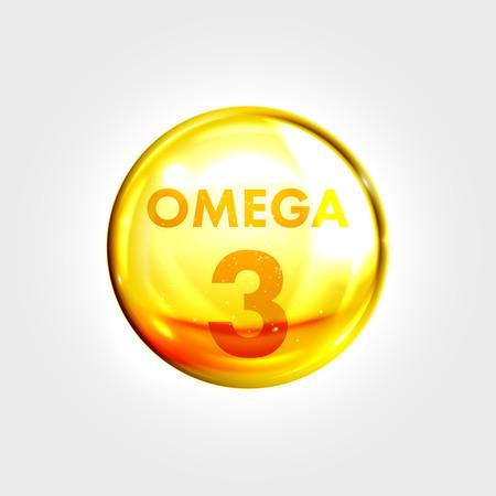 Omega 3 icono de oro. Aceite de pescado vitamina gota cápsula de la píldora. Luminoso gota de esencia de oro. tratamientos de belleza cuidado de la piel diseño de la nutrición. Ilustración del vector. Ilustración de vector