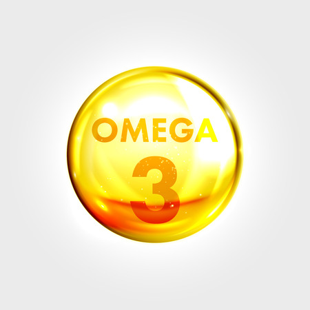 Omega 3 gold icon. Oil fish vitamin drop pill capsule. Shining golden essence droplet. Beauty treatment nutrition skin care design. Vector illustration.