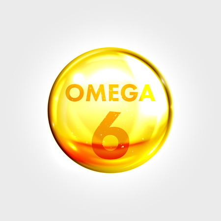 clear skin: Omega 6 gold icon. Linoleic acid vitamin drop pill capsule. Shining golden essence droplet. Beauty treatment nutrition skin care design. Vector illustration.