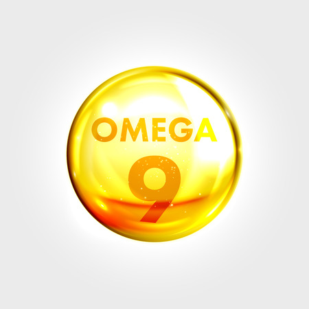 Omega 9 gold icon. Oleic acid vitamin drop pill capsule. Shining golden essence droplet. Beauty treatment nutrition skin care design. Vector illustration.
