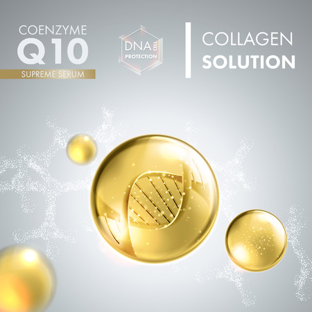 Supreme Q10 coenzyme oil drop essence with DNA helix. Premium shining serum droplet. Vector illustration. Çizim