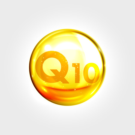 enzyme: Q10 gold icon. Coenzyme drop pill capsule. Shining golden enzyme essence droplet. Beauty treatment nutrition skin care design. Vector illustration.