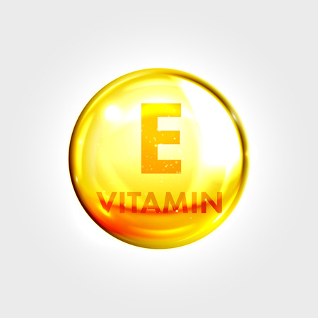 Vitamin E gold icon. Tocopherol vitamin drop pill capsule. Shining golden essence droplet. Beauty treatment nutrition skin care design. Vector illustration. Çizim