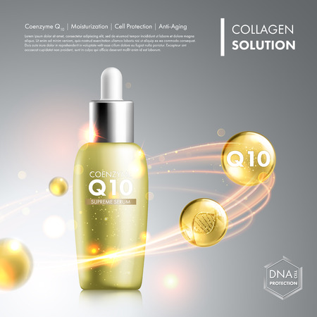 anti age: Coenzyme Q10 serum essence bottle. Skin care moisturizing treatment vial design. Anti age DNA helix protection solution. Premium shining enzyme droplet. Vector illustration.