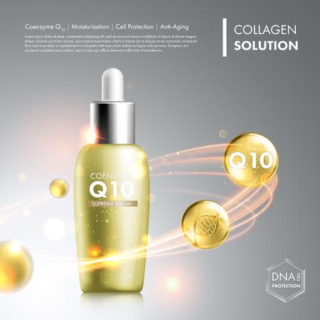 acido: La coenzima Q10 botella esencia suero. cuidado de la piel hidratante tratamiento de diseño vial. solución de protección de hélice de ADN anti edad. Prima gotita enzima brillante. Ilustración del vector. Vectores