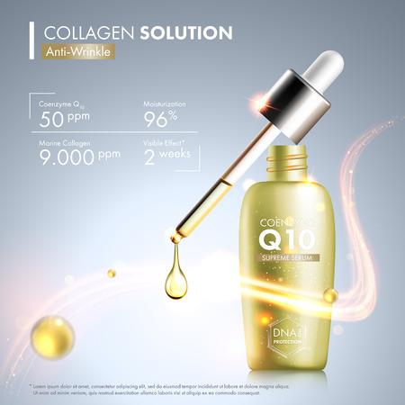 Coenzym Q10 Serum Essenz Flasche mit Tropfer. Hautpflege Feuchtigkeitsbehandlung Fläschchen Design. Anti-Age-DNA-Helix Schutzlösung. Premium-glänzende Enzymtröpfchen. Vektorgrafik