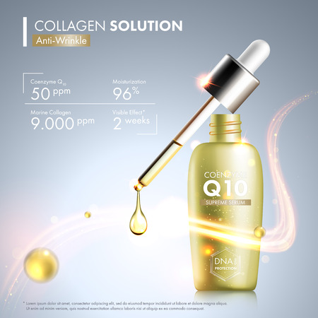 Coenzyme Q10 serum essence bottle with dropper. Skin care moisturizing treatment vial design. Anti age DNA helix protection solution. Premium shining enzyme droplet. Vectores