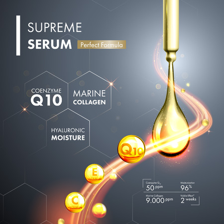 Coenzyme Q10 serum essence gold drops with dropper. Skin care collagen hyaluronic moisture formula treatment design. Anti age DNA helix protection solution. Stock Illustratie