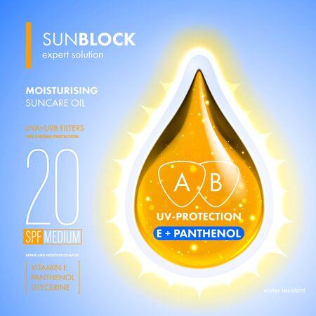 Sunblock SPF de la goutte d'huile d'or. solution de protection contre les UV de conception suncare. La vitamine E formule d'experts panthénol hydratant.