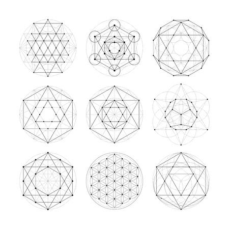 Numerologie Astrologie Zeichen und Symbolen. Hipster esoterischen heilige Geometrie abstrakte Muster Illustration. Sakral Blume des Lebens Symbol. Metatrons Cube. Standard-Bild - 56301701