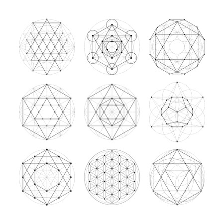 flower of life: Numerology astrology signs and symbols. Hipster esoteric sacred geometry abstract pattern illustration. Sacral flower of life symbol. Metatrons Cube.