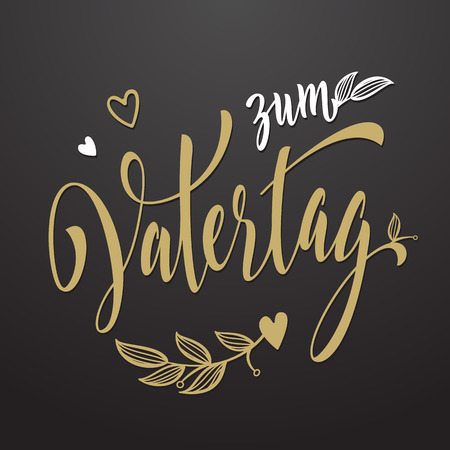 Liebe: Alles Liebe zum Vatertag Father Day greeting card in German. Hand drawn lettering title with flourish and hearts golden pattern. Illustration