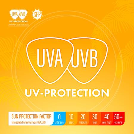 uv: Sunblock SPF gradation lotion, cream, spray lineup. UV protection infographics suncare information poster design.