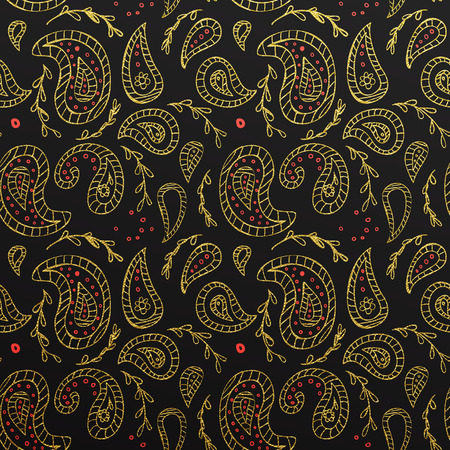 pattern background: seamless Paisley golden pattern wallpaper with flowers and red dots and black background.
