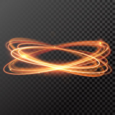 magic gold light trail circle. Glowing fire ring trace. Glitter sparkle whirl trail effect on black background. Bokeh glitter round wave line with spinning sparkling flash lights.