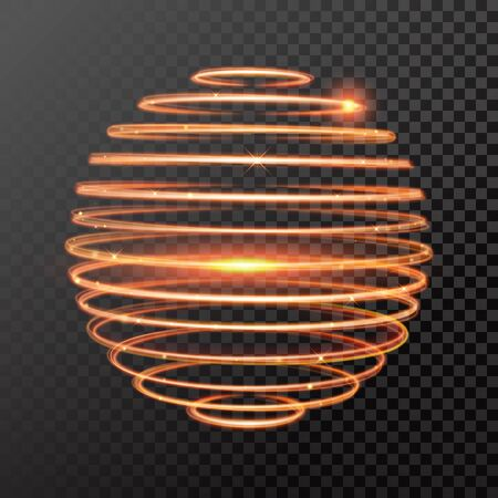 spinning: magic gold light trail. Sphere globe shape of glowing fire ring trace. Glitter sparkle whirl trail effect on transparent background. Glitter round wave line with spinning sparkling flash lights. Illustration