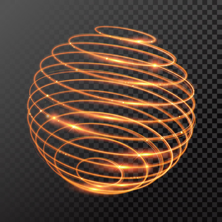 round shape: magic gold light trail. Sphere globe shape of glowing fire ring trace. Glitter sparkle whirl trail effect on transparent background. Glitter round wave line with spinning sparkling flash lights. Illustration