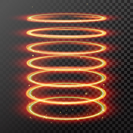 magic gold light trail. Spring tube cylinder shape of glowing fire ring trace. Glitter sparkle whirl trail effect on transparent background. Illustration