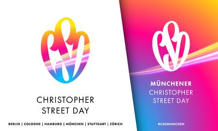 christopher: Artwork emblem for CSD Christopher Street Day. Illustration for European Pride social event in Germany, Austria, Switzerland. LGBT icon design. Illustration