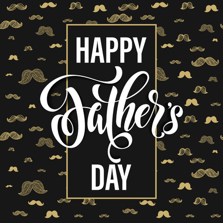 best dad: Fathers Day Best Dad vector greeting card. Gold moustache pattern. Hipster concept design. Title calligraphy lettering text. Quote