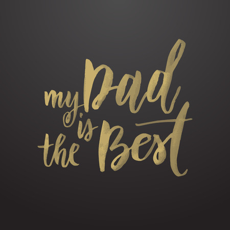 father day: Father Day vector greeting card. Hand drawn black calligraphy lettering title. Illustration