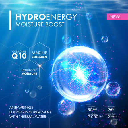moisturize: Hydro Energy Coenzyme Q10 water molecula bubble drop. Skin care marine collagen hyaluronic moisture formula treatment design. Anti wrinkle thermal energizing solution. Illustration