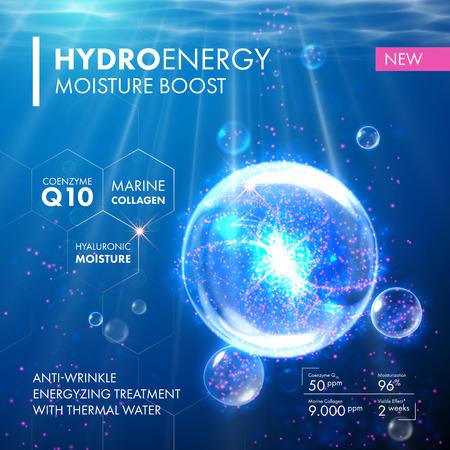 Hydro Energy Koenzym Q10 bańki kropla wody cząsteczkowy. Pielęgnacja skóry projektowanie kolagen morski hialuronowy wilgoci leczenie formułą. Przeciw zmarszczkom termiczna rozwiązaniem energetyzujący. Ilustracje wektorowe