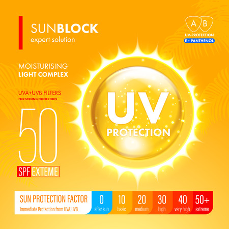 Sunblock SPF gold oil drop strong protection. UV protection solution suncare design. SPF gradation infographic. 向量圖像