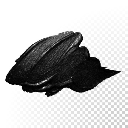 dab: Ink black watercolor brush stroke. Polish splash line trace. Abstract shape oil tar paint smear dab on transparent background. Illustration