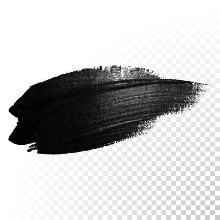 Tusz czarny akwarela pędzla udar. Polski ślad linii powitalny. Streszczenie kształt smoły oleju farby rozmaz dab na przezroczystym tle.