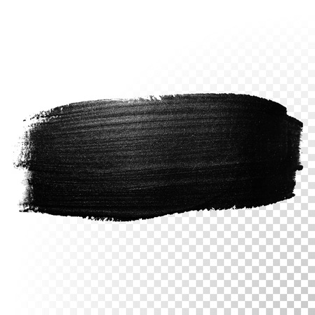 Ink black watercolor brush stroke. Polish splash line trace. Abstract shape oil tar paint smear dab on transparent background. Иллюстрация