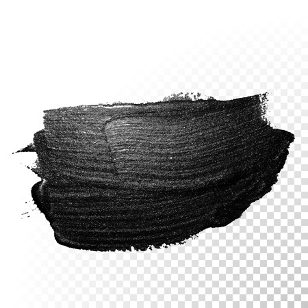 watercolor brush: Ink black watercolor brush stroke. Polish splash line trace. Abstract shape oil tar paint smear dab on transparent background. Illustration