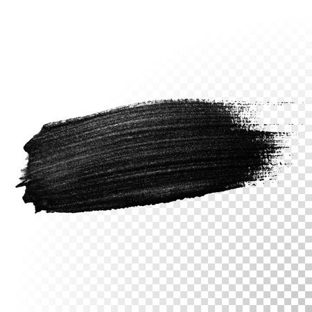 Inkt zwart aquarel penseelstreek. Poolse splash lijn trace. Abstract olie teer uitstrijkje verf schar vorm op transparante achtergrond. Stock Illustratie