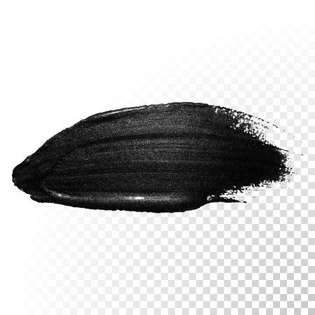lipstick: De tinta acuarela negro pincelada. traza la línea salpicaduras polaca. Resumen forma de aceite de alquitrán de pintura frotis de lenguado en el fondo transparente.