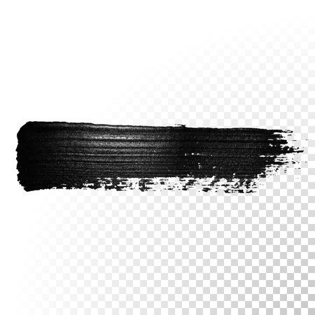 Negro acuarela pincelada. rotulador marcador DAB brillante. pintura al óleo abstracta esmalte traza salpicaduras. derrame cerebral aguada. Ilustración de vector