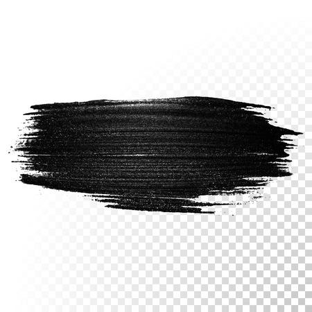 Black watercolor brush stroke. Highlighter marker glossy dab. Abstract oil paint polish splash trace. Gouache stroke.