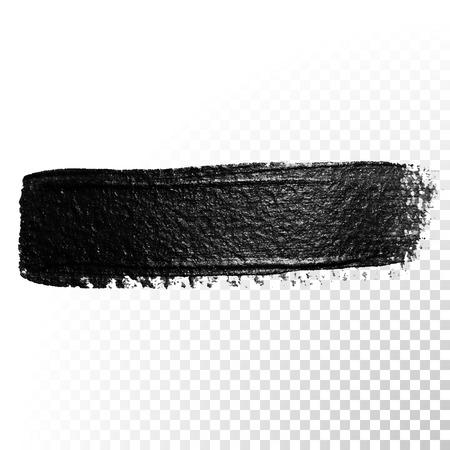 Black watercolor brush stroke. Highlighter marker glossy dab. Abstract oil paint polish splash trace. Gouache stroke. Vetores