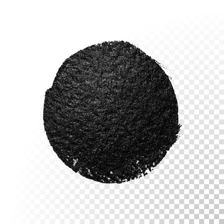 tar: Vector black watercolor glitter brush blob stroke. Abstract tar polish splash circle. Oil paint blot smear on transparent background Illustration