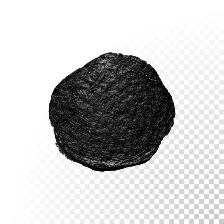 blob: Vector black watercolor glitter brush blob stroke. Abstract tar polish splash circle. Oil paint blot smear on transparent background Illustration