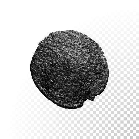 cosmetics background: Vector black watercolor glitter brush blob stroke. Abstract tar polish splash circle. Oil paint blot smear on transparent background Illustration