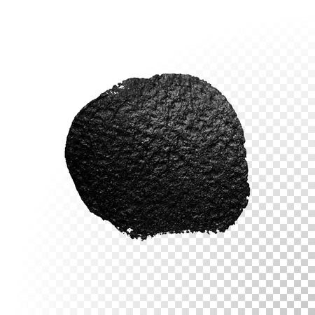 Vector black watercolor glitter brush blob stroke. Abstract tar polish splash circle. Oil paint blot smear on transparent background Illustration